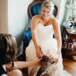 Bride putting boots on